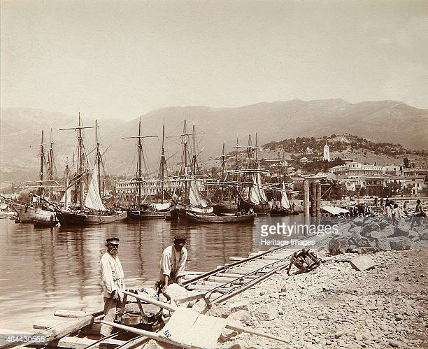 The construction of a pier in Yalta Crimea late 19th century From a private collection