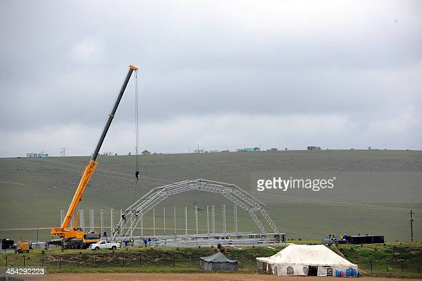 The construction of a stage is underway in Qunu on December 8 2013 ahead of the state funeral of former President Nelson Mandela who will be burried...