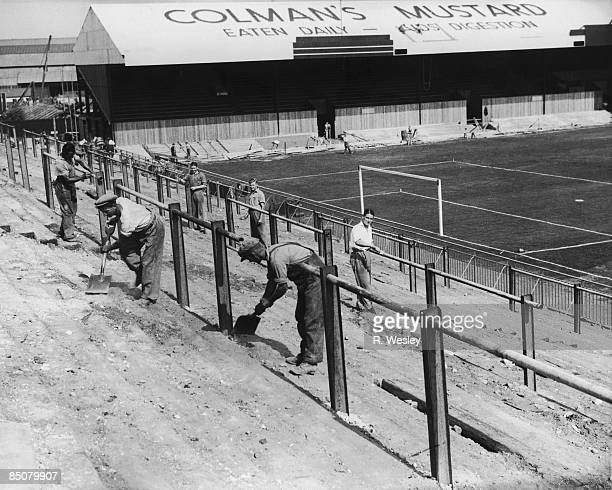 The construction of Norwich City FC's new football ground at Carrow Road Norwich 26th August 1935