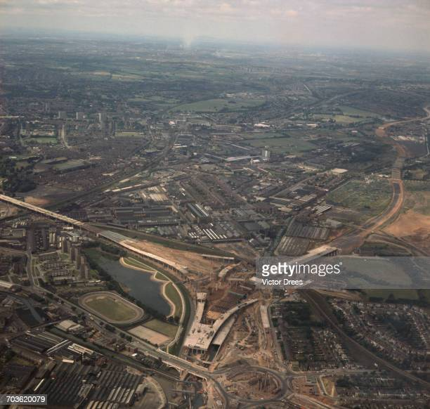 The construction of the Gravelly Hill Interchange at junction 6 of the M6 motorway in Birmingham UK popularly known as Spaghetti Junction July 1970...