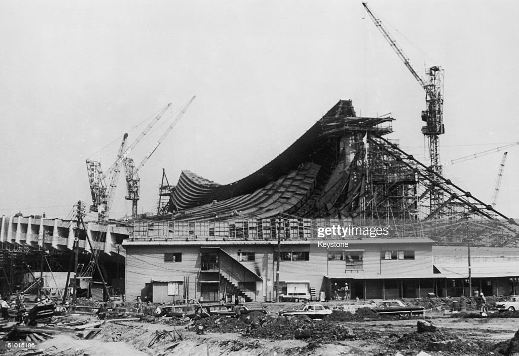 The construction of the National Gymnasium of the Olympic Village at Yoyogi in Tokyo where the athletes will live for the duration of the games 6th...