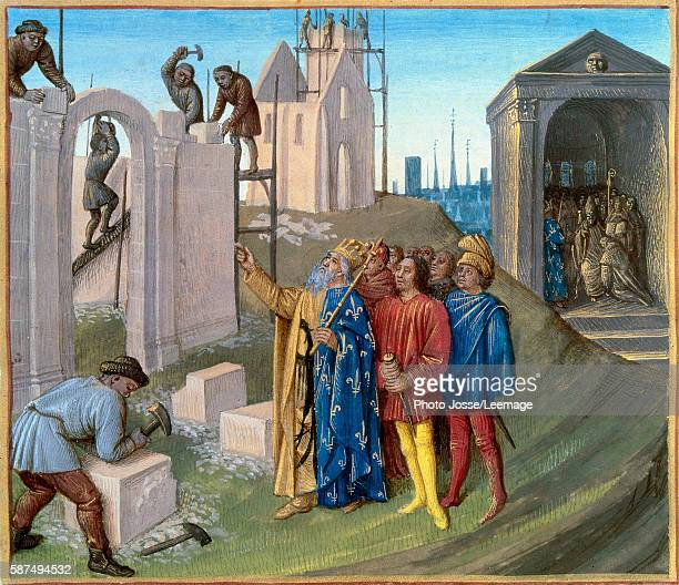 The construction of the palace of Aachen by Charlemagne overseeing the site On the right Pepin the Hunchback forced to become a monk Miniature from...
