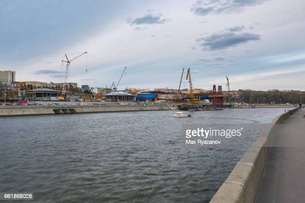 The construction of the Zaryadye Park in the center of Moscow