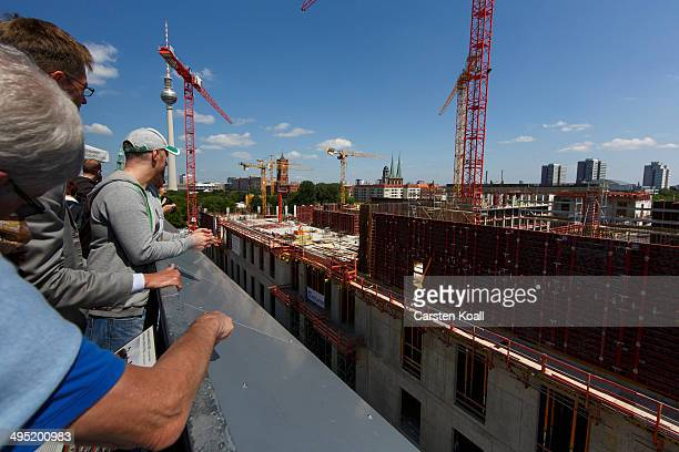 The construction site of Berlin City Palace in the city center is shown open to visitors on June 1 2014 in Berlin Germany The Berliner Schloss was...