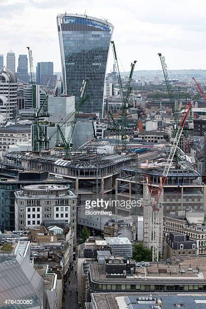 The construction site of Bloomberg Place the future London headquarters of Bloomberg LP is seen in front of 20 Fenchurch Street also known as the...
