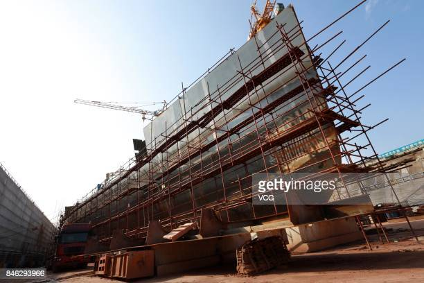 The construction site of fullsize Titanic replica is seen at Daying County on September 12 2017 in Suining Sichuan Province of China When completed...