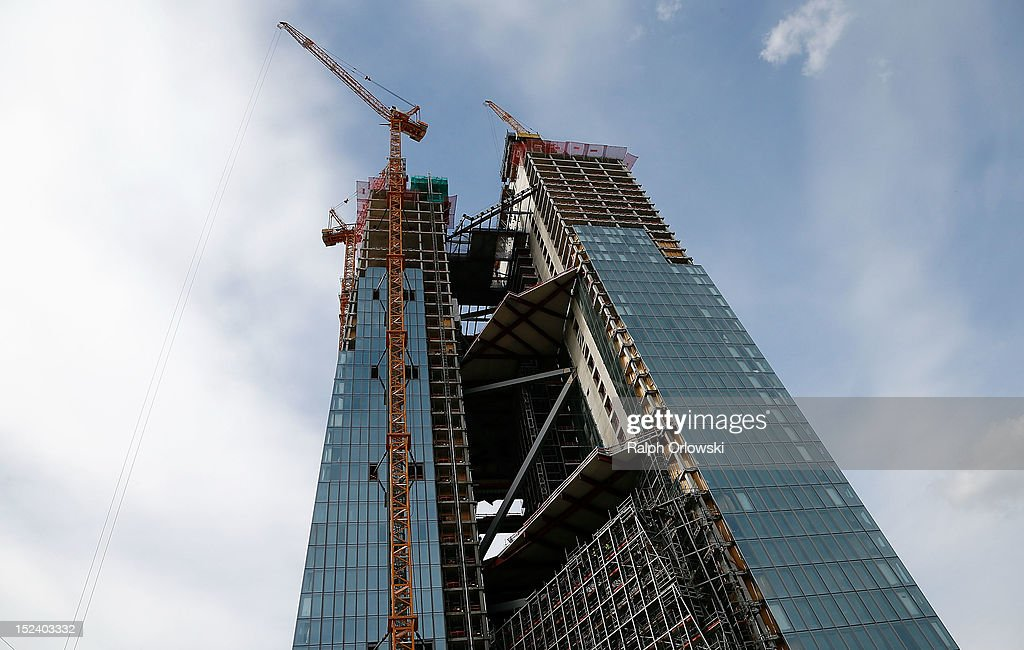 The construction site of the new European Central Bank (ECB) headquarters during a media tour on September 20, 2012 in Frankfurt, Germany. The new, twin-tower headquarters is scheduled for completion by 2014.