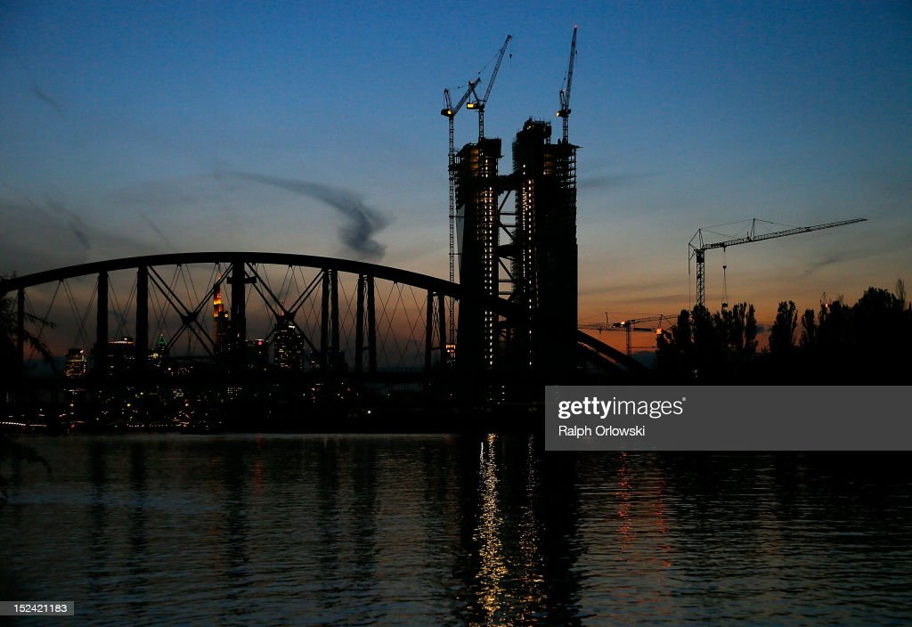 The construction site of the new European Central Bank (ECB) headquarters on September 20, 2012 in Frankfurt, Germany. The new, twin-tower headquarters is scheduled for completion by 2014.