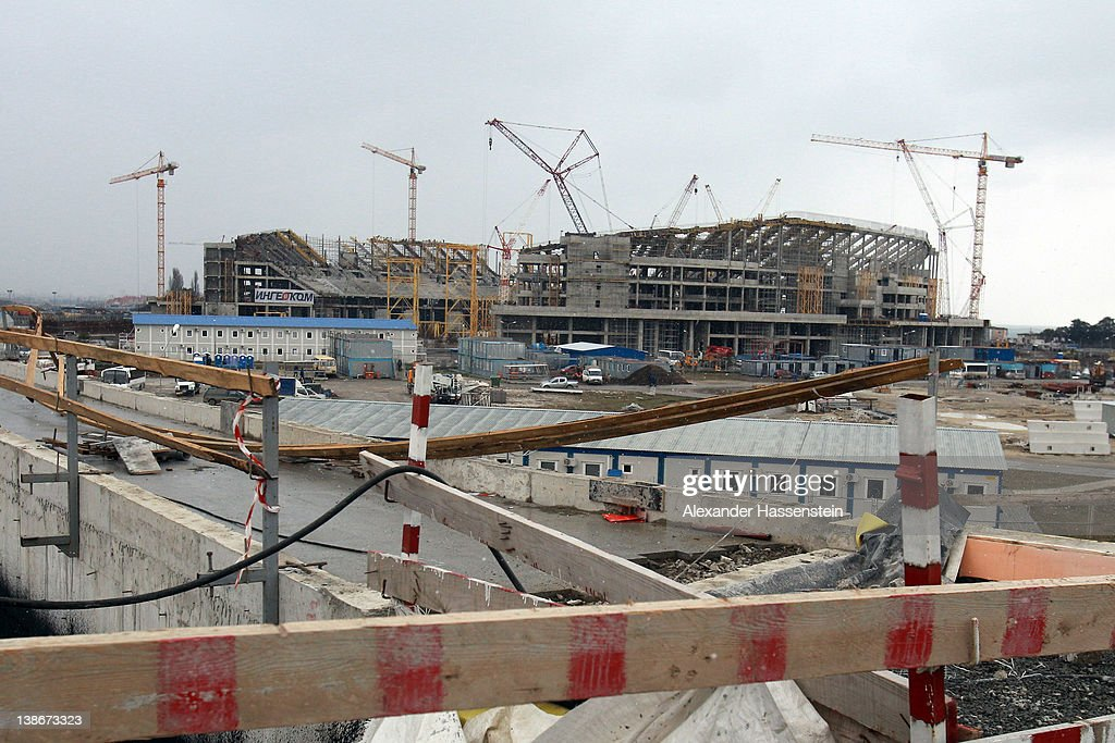 The construction site of the Olympic stadium 'Fisht' on February 10, 2012 in Sochi, Russia. The 'Fisht' will host the opening and the closing ceremonies of the 2014 Olympic and Paralympic Winter Games. The stadium with a capacity of 40,000 spectators is expected to be completed in May 2013 and will host football matches including the 2018 FIFA World Cup following the Games.