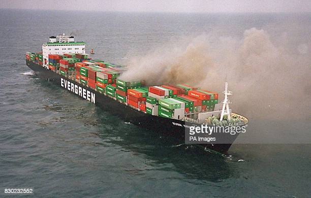 The container ship Ever Decent on fire in the English Channel off the Kent coast after it had been in collision with the cruise liner Norwegian Dream...