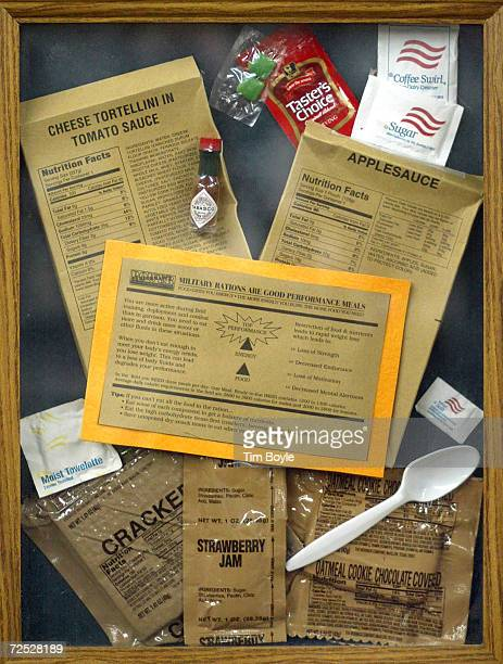 The contents of a 'Cheese Tortellini in Tomato Sauce' Meals Ready to Eat package is displayed under a glass frame February 21 2002 at the ArmyNavy...