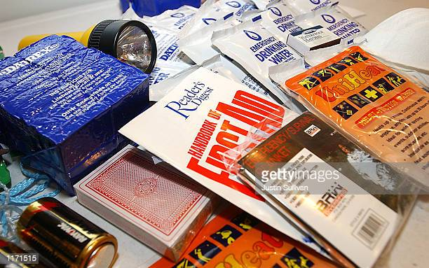 The contents of a typical survival supply kit sold at Earthshakes sit on a counter October 16 2001 in Burlingame CA Since the terrorist attacks in...