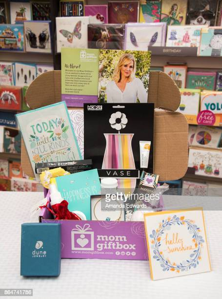 The contents of actress Jennie Garth's MomGiftBox are displayed at Papyrus on October 21 2017 in Los Angeles California