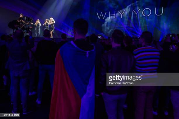OG3NE the contestants from the Netherlands perform during a rehearsal for the Eurovision semifinal on May 10 2017 in Kiev Ukraine Ukraine is the 62nd...