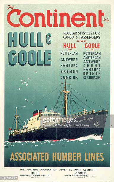 �The Continent via Hull and Goole Regular Services for Cargo Passengers' Poster produced for British Railways North Eastern Region promoting services...