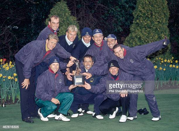 The Continental Europe team with the trophy after winning the Seve Trophy golf competition held at the Druids Glen Golf Club Ireland 16th April 2000...