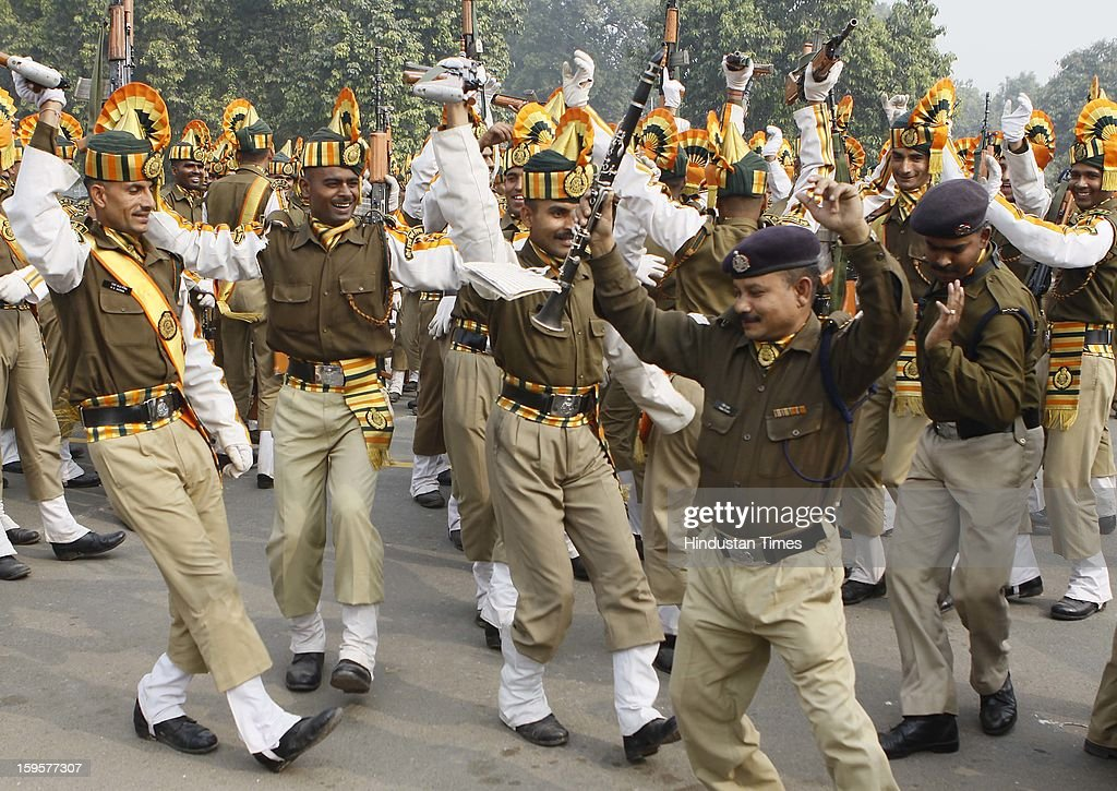 The contingent members of Indo Tibetian Border Force enjoying and having fun after the hard training of Republic Day rehearsals at the India Gate lawns on January 16, 2013 in New Delhi, India.