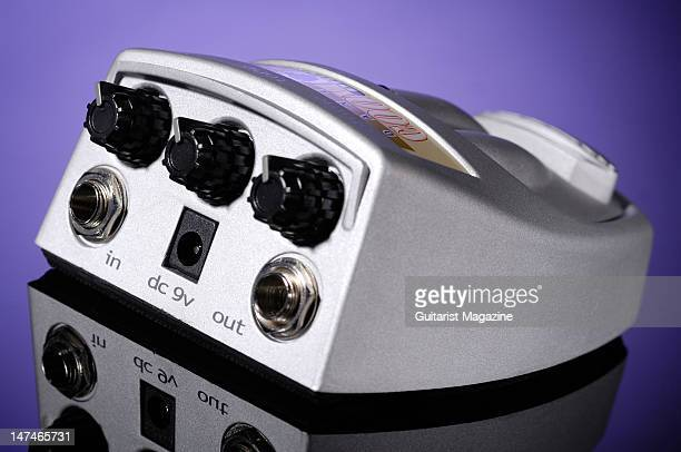 The control dials and jack sockets of a Danelectro Cool Cat Drive CD1 electric guitar effects pedal during a studio shoot for Guitarist Magazine July...