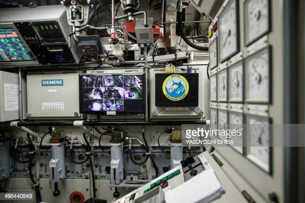 The control panel at the engine room of the BNS S34 Tikuna Brazilian dieselelectric powered type 209 attack submarine during a drill while moored at...