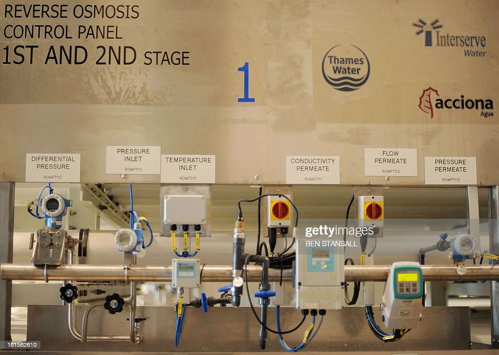 The control panel for the reverse osmosis stage of water desalination, is seen inside Thames Water's Desalination Plant, in Beckton, east London on June 2, 2010. It is the first plant of its kind to be built in the UK and will provide up to 140 million litres of drinking water each day produced by desalinating water from the Thames estuary.