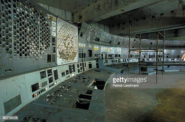 The control panel of reactor unit 4 seen here on June 1 2006 inside the Chernobyl exclusion zone and nuclear power plant Ukraine Reactor unit 4 blew...