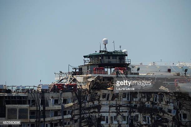 The Control Room is seen on the wrecked cruise ship Costa Concordia towed by tugs from Giglio in the open sea after being refloated on July 23 2014...