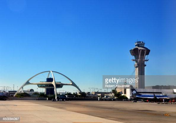The control tower and landmark Theme Building at Los Angeles International Airport The iconic Theme Building was built in 1961 The futuristic...
