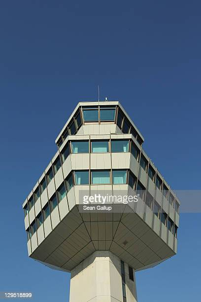The control tower stands at Tegel Airport on October 17 2011 in Berlin Germany Tegel which first went into operation in 1960 and whose main hexagonal...