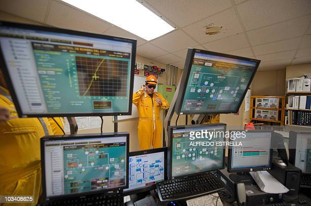 The controlroom of the Pemex KuS oil processing center part of the KuMaloob Zaap complex in the Gulf of Mexico off Ciudad del Carmen Campeche state...