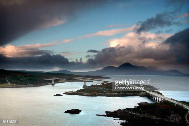 The controversial Skye Bridge spans the gap between the scottish island Skye and the mainland December 10 2004 at the Kyle of Lochalsh Scotland Ever...