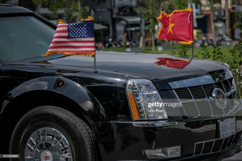 The convoy transporting U.S. President Donald Trump passes by on Nguyen Van Linh Road on November 10, 2017 in Danang, Vietnam. U.S. President Donald Trump, who is on a 12-day Asia trip, will take part in the Asia-Pacific Economic Cooperation summit hosted by Vietnam this year. The APEC leaders meeting, which opens on Friday in Danang, Vietnam, aims to promote free trade throughout the Asia-Pacific region.