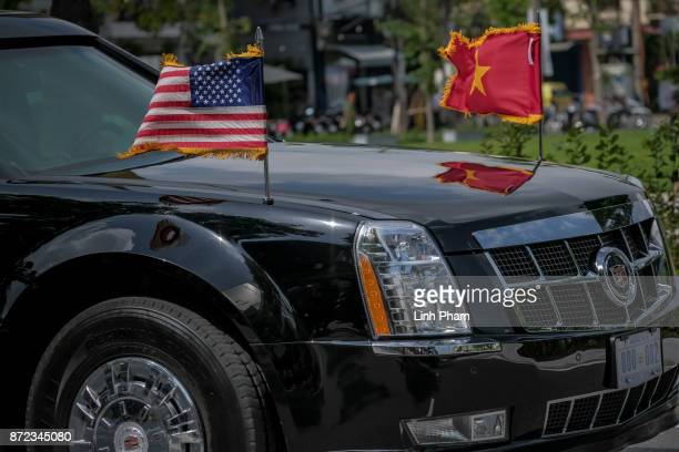 The convoy transporting US President Donald Trump passes by on Nguyen Van Linh Road on November 10 2017 in Danang Vietnam US President Donald Trump...