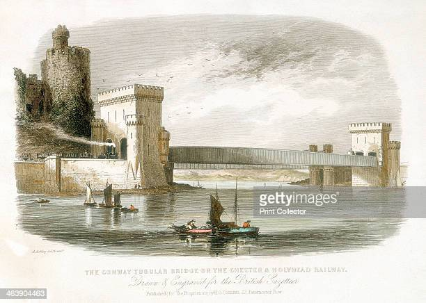 'The Conwy Tubular Bridge on the Chester Holyhead Railway' North Wales 1852 This bridge was designed by Robert Stephenson to carry the Chester and...