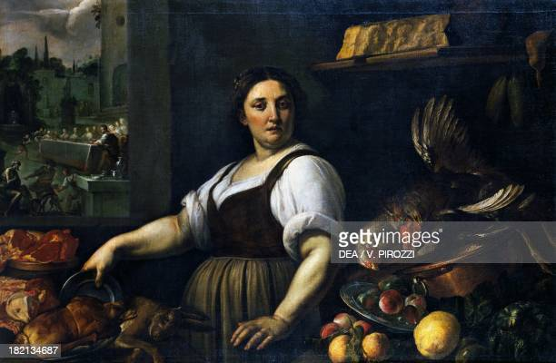 The cook in the kitchen by Vincenzo Campi Rome Galleria Doria Pamphilj