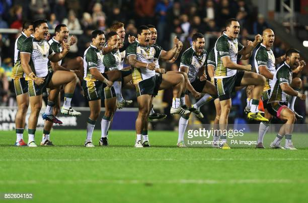 The Cook Island's perform a Haka before the the 2013 World Cup match at Leigh Sports Village Leigh