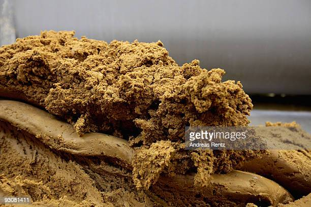 The cookie dough is pictured before it is running on an automatic conveyor belt to cut into shape at the gingerbread bakery Henry Lambertz on...