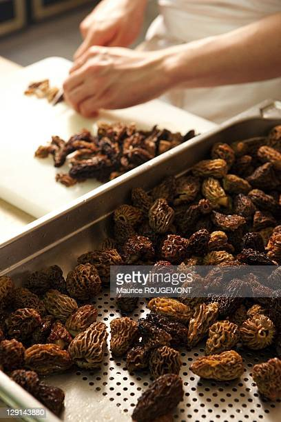 The cooks are preparing the morels in the hotel restaurant Les Pres d'Eugenie on June 10 2011 in EugenieLesBains in France