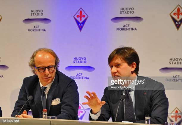 The coowner of the ACF Fiorentina Andrea Della Valle and Mayor of Florence Dario Nardella attend the hold a press conference for presentation of the...
