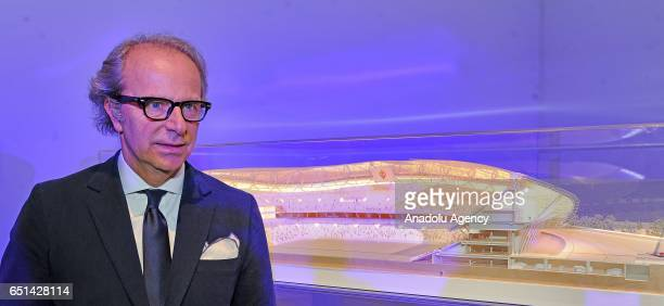 The coowner of the ACF Fiorentina Andrea Della Valle poses for a photo near the model of the ACF Fiorentina's new soccer stadium during the...