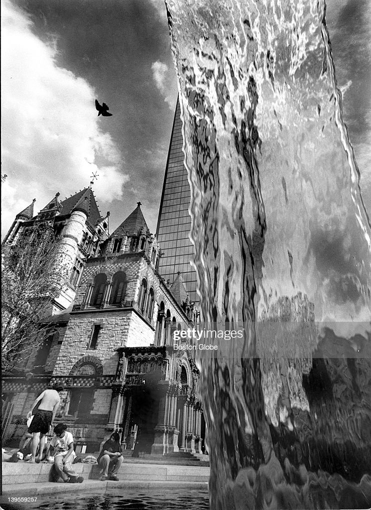 The Copley Square fountain with Trinity Church in the background