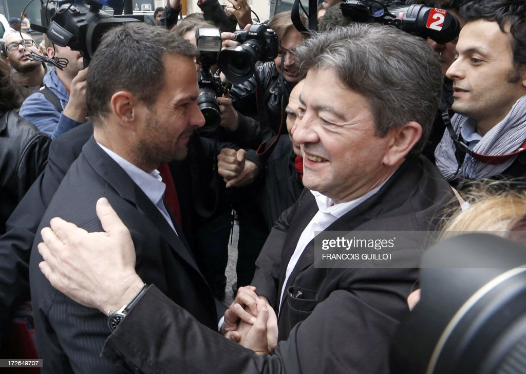 The co-President of French far-left Parti de Gauche (PG) party's Jean Luc Melenchon (R) greets French rogue trader Jerome Kerviel upon his arrival on July 4, 2013 in Paris, at the Prudhommes court (judicial system of relations between workers and employees). Kerviel lost last year his appeal against a three-year jail term and a 4.9-billion-euro fine for his part in France's biggest rogue-trading scandal. The 35-year-old was convicted of forgery and breach of trust for gambling away nearly five billion euros ($6.3-billion) in risky deals as a star trader at Societe Generale, one of Europe's biggest banks.