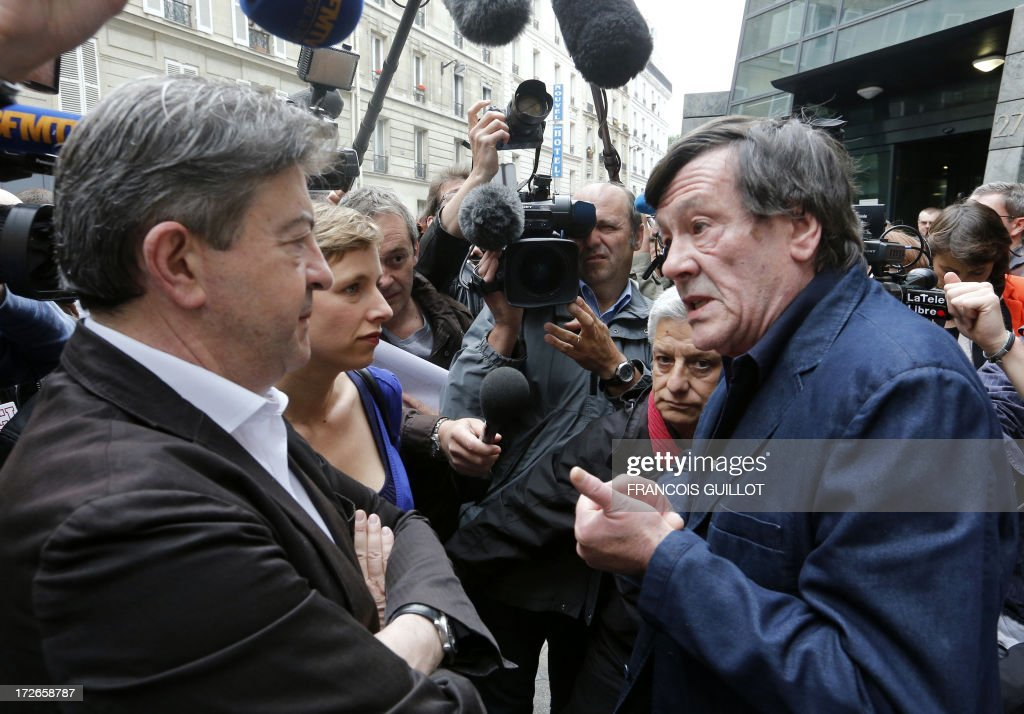 The co-President of French far-left Parti de Gauche (PG) party's Jean Luc Melenchon (L) speaks with French rogue trader Jerome Kerviel upon their arrival on July 4, 2013 in Paris, at the Prudhommes court (judicial system of relations between workers and employees). Kerviel lost last year his appeal against a three-year jail term and a 4.9-billion-euro fine for his part in France's biggest rogue-trading scandal. The 35-year-old was convicted of forgery and breach of trust for gambling away nearly five billion euros ($6.3-billion) in risky deals as a star trader at Societe Generale, one of Europe's biggest banks.Center, second ground, French far-left Parti de Gauche (PG) party's activist Clementine Autain.
