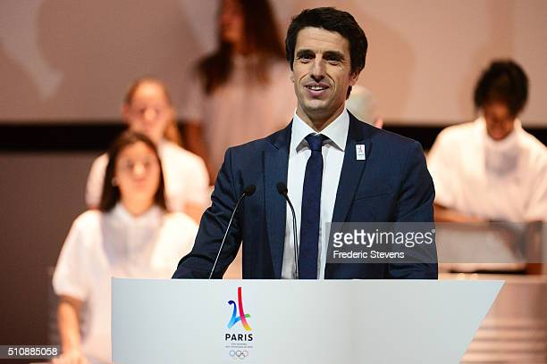 The copresident of Paris 2024 Tony Estanguet speaks during the official presentation of Paris as candidate for the 2024 Olympic summer games in the...