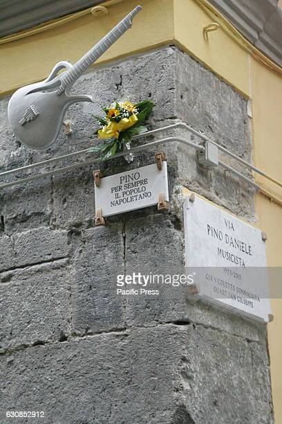 The copy of galvanized iron guitar by Pino Daniele in Naples used by the artist and been repositioned in Piazza Santa Maria La Nova The instrument...
