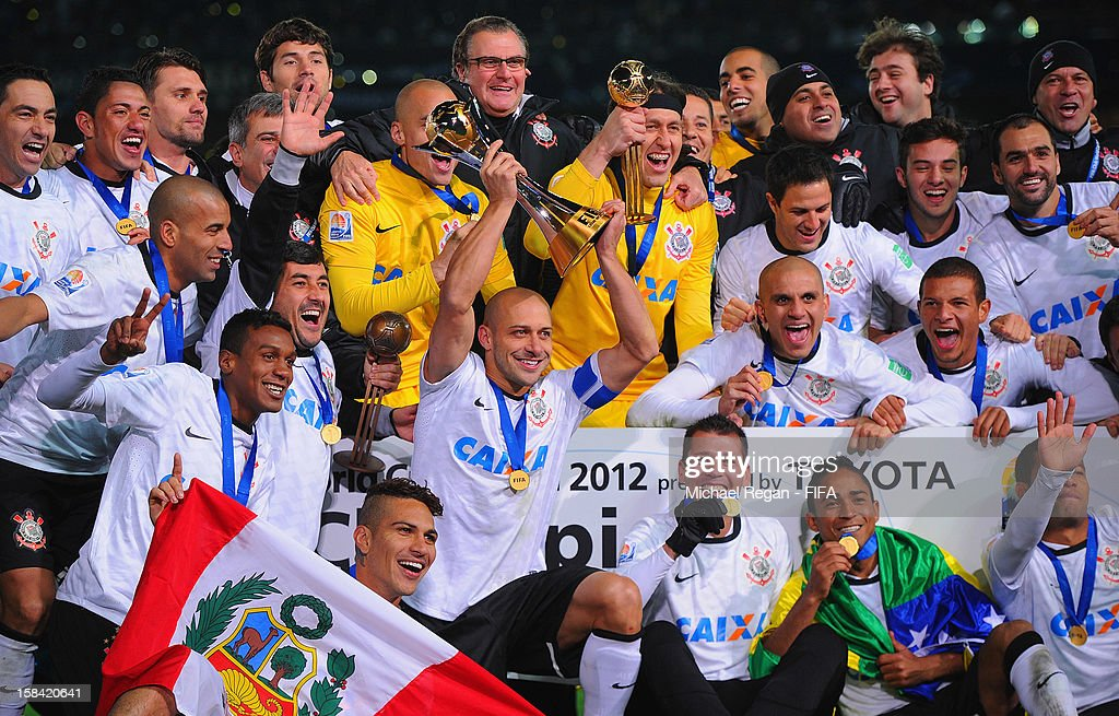 The Corinthians squad celebrate after winning the FIFA Club World Cup Final Match between Corinthians and Chelsea at the International Stadium Yokohama on December 16, 2012 in Yokohama, Japan.