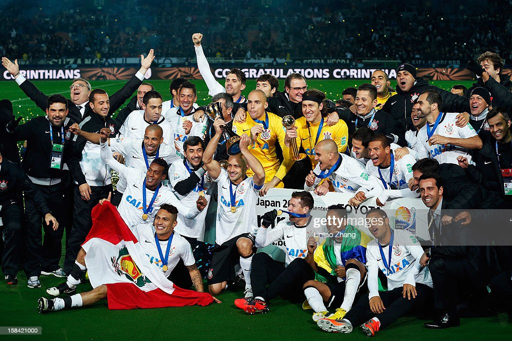 The Corinthians squad celebrate after winning the FIFA Club World Cup Final Match between Corinthians and Chelsea at International Stadium Yokohama on December 16, 2012 in Yokohama, Japan.