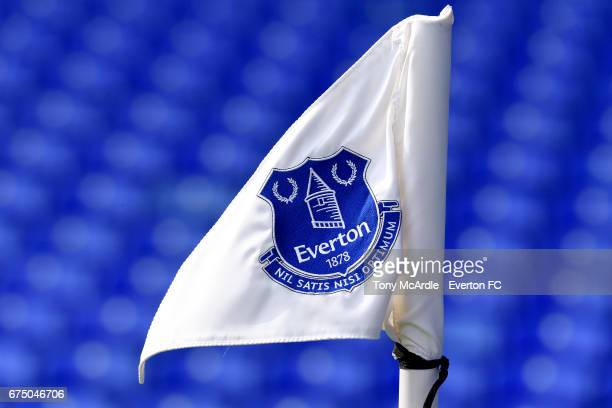 The corner flag at Everton before the Premier League match between Everton and Chelsea at the Goodison Park on April 30 2017 in Liverpool England