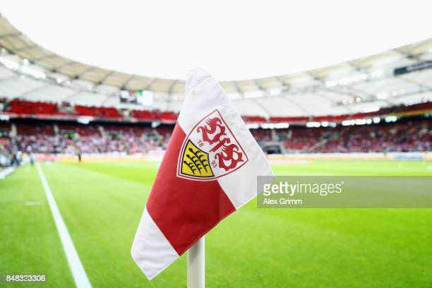The corner flag is seen prior to the Bundesliga match between VfB Stuttgart and VfL Wolfsburg at MercedesBenz Arena on September 16 2017 in Stuttgart...