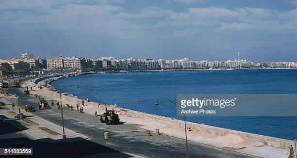 The Corniche a waterfront promenade in Alexandria Egypt circa 1965