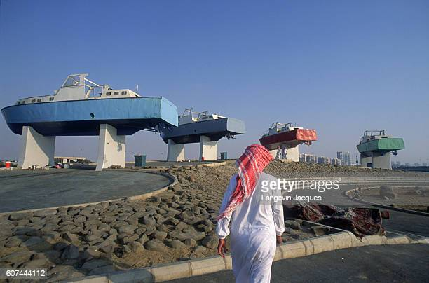 The Corniche area of Jiddah is an openair museum displaying more the 400 works of public sculpture | Detail of Public Sculpture of Motorboats in...